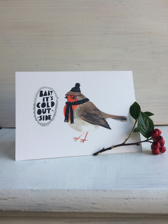 Christmas greeting cards Pack of 4, Baby it's cold outside Cosy robin.