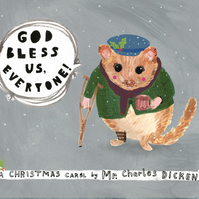 Christmas greeting card, Charles Dickens, dormouse Tiny Tim
