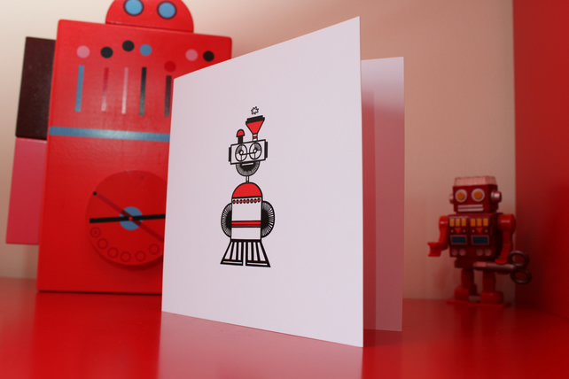 Robot greeting card - Ms Choo-Choo (blank inside)