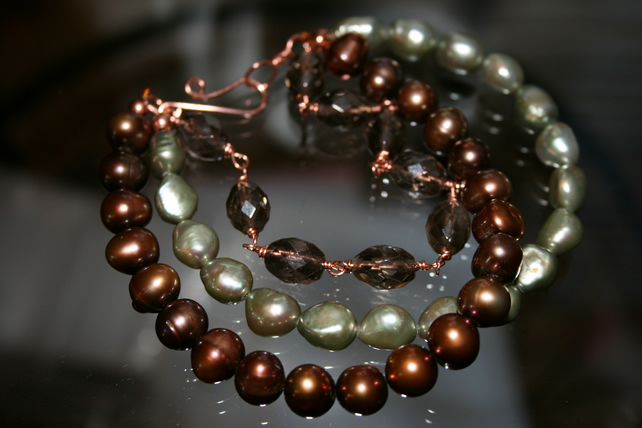 Triple Stand Smokey Quartz and Freshwater Pearl Bracelet with Solid Raw Copper