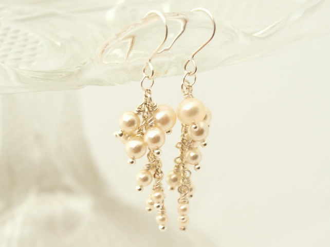 Pearl Cascade  Bridal Earrings, Bridesmaid Gift, Wedding Jewellery