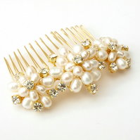 Gold Floral Bridal Hair Comb - Pearl Flower Wedding Headdress