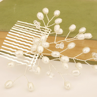 Silver Floral Vine Pearl Bridal Comb, Wedding Hair Accessories Bridesmaid Hair