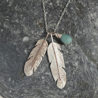 Feather and Amazonite Necklace - Boho Style Handmade Silver Feathers Necklace