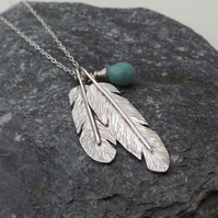 Silver Necklace, Feathers and Amazonite Hand Forged Sterling Silver Necklace