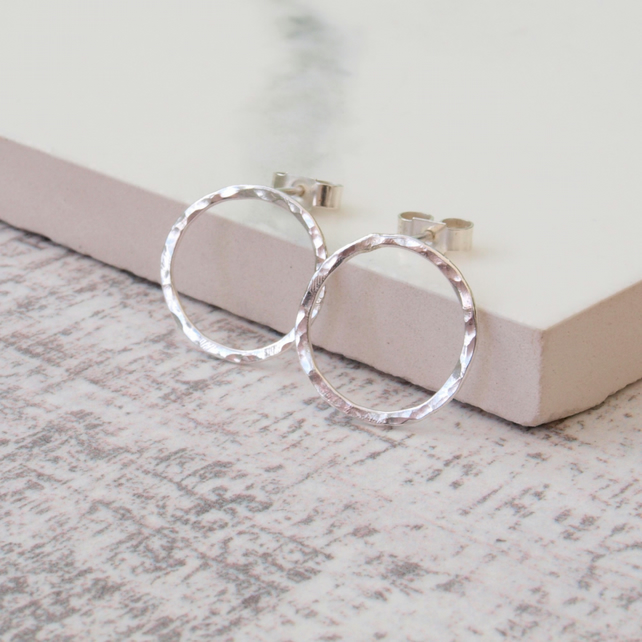 Circle Silver Studs, Rustic Circle Sterling Silver Earrings Handmade