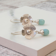 Flower Earrings,Sterling Silver Hand Forged Floral Earrings with Amazonite