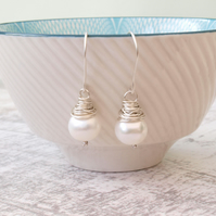 Pearl Earrings, Freshwater Pearl Wire Wrapped Sterling Silver Bridal Earrings
