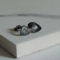 Black Triangle Studs - Sterling Silver Handmade Minimalist Earrings