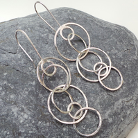 Long Circle Earrings - Handmade Statement Silver Long Drop Earrings