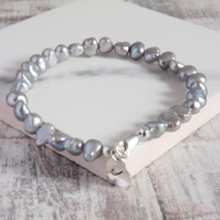 Initial Bracelet - Grey Pearl Bracelet with Personalised Silver Heart
