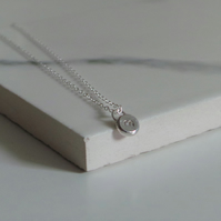 Initial Dot Necklace - Personalised Silver Necklace - Minimalist Jewellery Gift