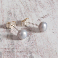 Grey Pearl Studs - Freshwater Pearl Silver Grey Sterling Silver Stud Earrings