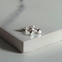 Tiny Dot Studs - Sterling Silver Handmade Minimalist Earrings