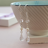 Crystal Long Earrings - Pearl and Crystal Dangly Silver Bridal Earrings