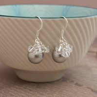 Silver Pearl Earrings - Grey Pearl And Crystal Wedding Bridesmaid Earrings