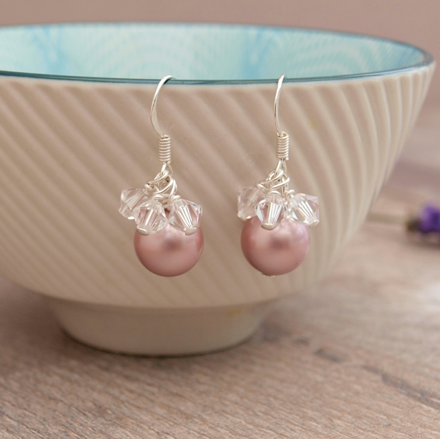 Rose Pink Earrings - Pink Bridal Earrings - Bridesmaid Gift