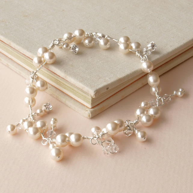 Ivory Pearl Cluster Bracelet - Pear and Crystal Wedding Bracelet
