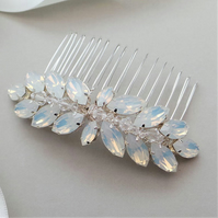 Opal Crystal Bridal Hair Comb - Leaf Inspired Wedding Headdress