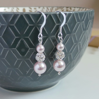 Ella Blush Pink Earrings - Pale Pink Pearl Silver Earrings
