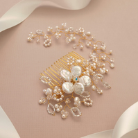 Gold Vine Bridal Hair Comb - Pearl and Crystal Gold Wedding Headdress