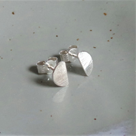 Half Moon Hammered Stud - Sterling Silver Hammered Stud Earrings