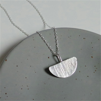 Half Moon Hammered Necklace - Sterling Silver Textured Necklace