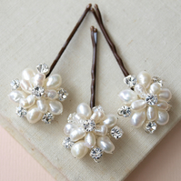 Flora Pearl Bridal Hair Pins - Ivory Freshwater Pearl and Crystal Bobby Pins