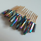 Rainbow Raw Quartz Hair Comb - Gold Wedding Headdress Raw Crystal