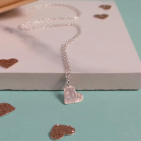 Textured Silver Heart Necklace - Rustic Hammered Heart Necklace