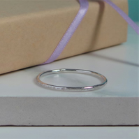 1 Hammered Silver Ring - Rustic Hammered Sterling Silver Stacking Ring
