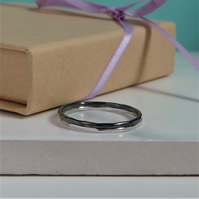2 Delicate Silver Stacking Rings - Sterling Silver Hammered Texture Bands