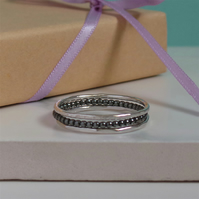 Set of 3 Silver Thin Rings - Sterling Silver Stacking Rings - Choose Your Combo