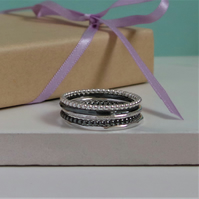 Set of 4 Thin Silver Rings - Sterling Silver Stacking Rings - Mix and Match