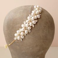 Dew Gold Pearl Tiara - Floral Pearl Wedding Side Tiara