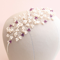 Bella Pearl Side Tiara - Purple Crystal and Pearl Floral Bridal Side Tiara