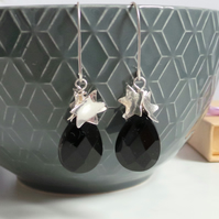 Star Onyx Drop Earrings - Black Gemstone Sterling Silver Earrings