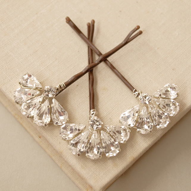 Fan Crystal Hair Pins - Diamante Crystal Bobby Pins Set of 3