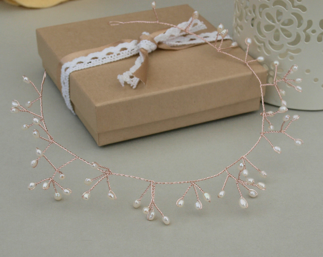 Rose Gold Hair Vine - Bridal Pearl Hair Vine