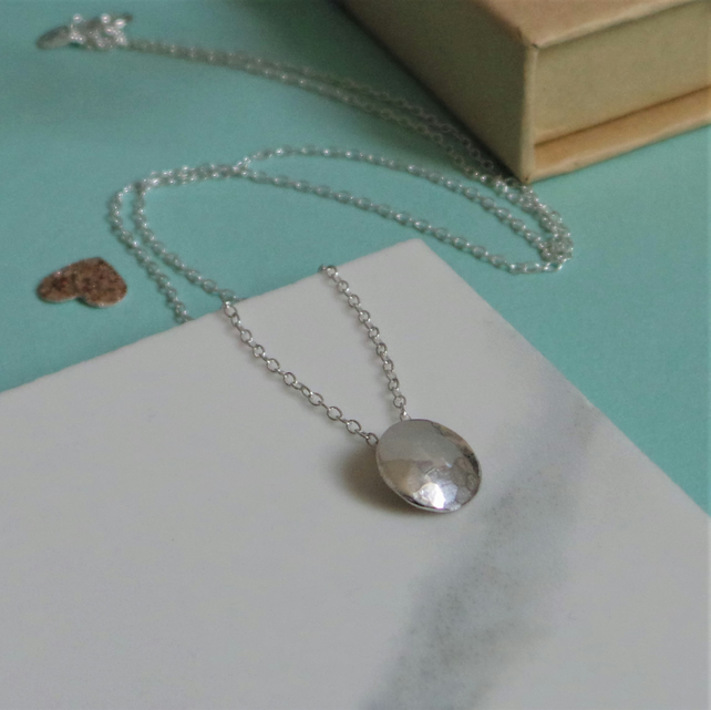 Disco Ball Silver Necklace - Handmade Hammered Sterling Silver Circle Necklace