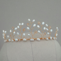 Gold Pearl Vine Tiara - Ivory Freshwater Pearl and Gold Crystal Wedding Tiara