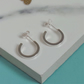 Chunky Silver Hoops - Handmade Small Sterling Silver Hoop Stud Earrings