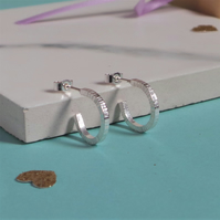 Bark Silver Hoop Earrings - Hammered Textured Sterling Silver Stud Hoop Earrings