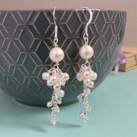 Abigail Pearl Drop Earrings - Crystal and Pearl Cascade Drop Wedding Earrings