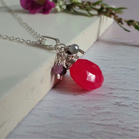 Pink Chalcedony and Sapphire Silver Bridesmaid Thank you Gift Necklace