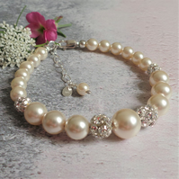 Ella Pearl and Crystal Mother of the Bride Thank You Gift Bracelet