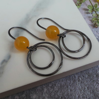 Yellow Agate and Oxidised Silver Circle Drop Earrings