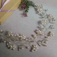 Mia Pearl Floral Wedding Hair Vine