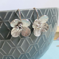 Hydrangea Flower Sterling Silver Drop Earrings - Handmade Hydrangea Earrings