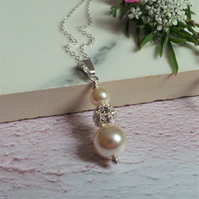 Ella Ivory Pearl Necklace - Pearl and Crystal Wedding and Bridesmaid Necklace
